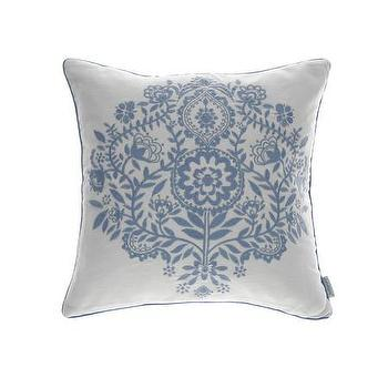 Pillows - Bluebellgray Catriona Cushion | Amara - blue floral embroidered pillow, blue and white embroidered pillow, blue flower embroidered pillow,