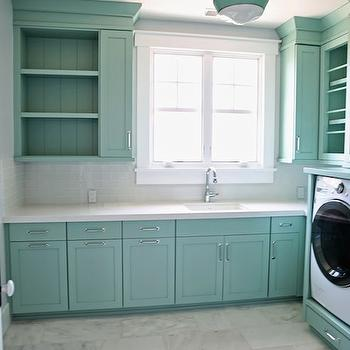 Sunny Side Up - laundry/mud rooms - wythe blue, turquoise cabinets, cabinet shelves, turquoise cabinet shelves, cabinet without door, white glass subway tiles, white glass subway backsplash, caesarstone organic white quartz countertops, marble floor, contemporary light fixture, contemporary barn light, teal cabinets, teal laundry cabinets, teal laundry room cabinets, teal cabinet shelves, laundry cabinets no doors, laundry cabinets with no door, upper cabinets no door, upper cabinets without door, white glass backsplash, laundry room backsplash, white glass tile backsplash, organic white quartz, caesarstone organic white, caesarstone organic white quartz, organic white countertops, organic white quartz countertops, staggered marble floor, teal light fixture, teal light pendant, teal moldings, teal laundry room, turquoise laundry rooms,