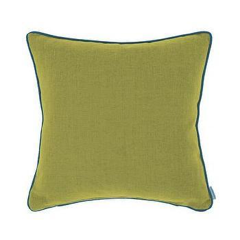 Pillows - Bluebellgray Piper Cushion - Olive | Amara - olive green pillow, olive green pillow with blue trim, green pillow with blue trim,