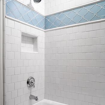 Arabesque Tile Shower Surround Contemporary Bathroom