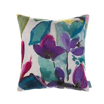 Pillows - Bluebellgray Tanith Cushion | Amara - watercolor floral pillow, blue and purple floral pillow, watercolor flower pillow,