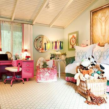 Hillary Thomas - girl's rooms - pink and green sofa, green sofa with pink trim, chinoiserie toile trimmed sofa, ivory and gray lattice rug, sisal carpet, wall to wall sisal carpet, woven basket, hot pink desk, hot pink swivel chair, vaulted bedroom ceilings, tongue and groove vaulted ceilings, desk in front of window, monogrammed pillows, embroidered monogrammed pillow, pink chinoiserie toile chair, chinoiserie toile armchair, round white accent table, rosette trimmed table lamp, rosette trimmed lamp shade, polka dot sheers, pink trimmed ivory drapes, pink grosgrain trimmed drapes, kids art, framed kids art, round venetian mirror, angel art, kids angel painting, green sofa, trimmed sofa, green roll arm sofa, kids sofas, layered rugs, kids monogrammed shams, monogrammed shams, kids desk, pink kids desk, pink desk, hot pink desk, pink lacquered desk, pink desk chair, pink task chair, hot pink task chair, desk under window, pink trimmed curtains, colorful kids room,
