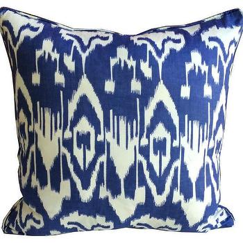 Pillows - Blue Ikat Pillow | Shoppe by Amber Interiors - navy ikat pillow, blue ikat pillow, navy and white ikat pillow,