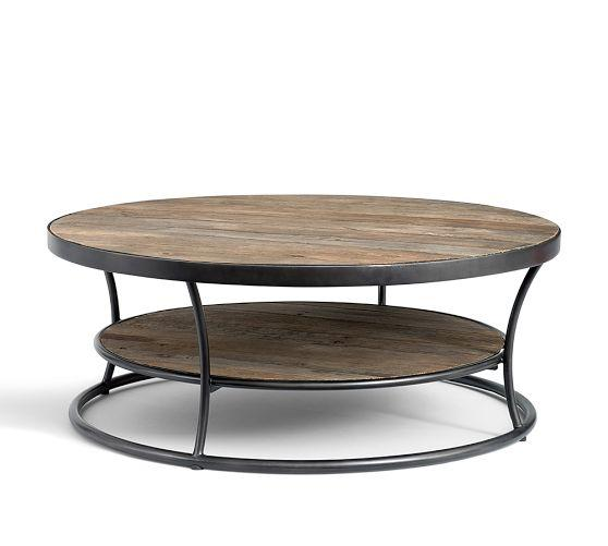 Coffee Table Pottery Barn Round Weathered Wood Coffee Table