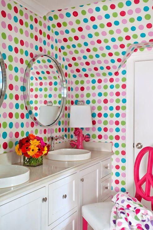 hand painted polka dot walls contemporary bathroom