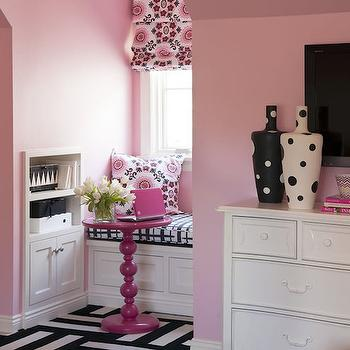 Tobi Fairley - girl's rooms - pink girls room, pink kids room, pink girls bedroom, pink kids bedroom, pink walls, pink bedroom walls, pink and black pillows, french 3 drawer nightstand, animal print bench, tufted animal print bench, black and white bench, black and white tufted bench, black and white animal print bench, carpet tiles, striped flor tiles, striped carpet tiles, black and white flor tiles, black and white carpet tiles, black and white striped carpet tiles, black and white striped flor tiles, kids dresser, french dresser, pink and black girls room, pink and black kids room, pink and black kids bedroom, kids reading nook, reading nook ideas, kids reading nook ideas, reading nook window seat, window seat reading nook, built ins, kids room built ins, hot pink accent table, , Flor Modular Carpet Tiles, Rubie Green Portobello Fabric,