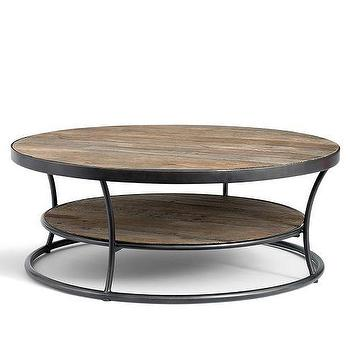 Tables - Bartlett Coffee Table | Pottery Barn - round weathered wood coffee table, round wood and iron coffee table, tiered wood and iron coffee table,
