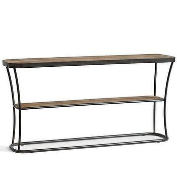 Tables - Bartlett Console Table | Pottery Barn - iron and wood console table, contemporary wood console table, two tiered wood and iron console,