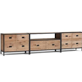Storage Furniture - Lincoln Modular Large Low Media Suite | Pottery Barn - industrial modular media center, wood and iron media center, modular iron and wood media cabinets,