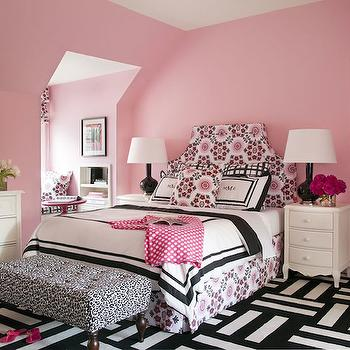 Tobi Fairley - girl's rooms - pink girls room, pink kids room, pink girls bedroom, pink kids bedroom, pink walls, pink bedroom walls, pink and black headboard, pink and black print headboard, pink and black bedskirt, pink and black pillows, black and white bedding, black and white duvet, black and white shams, black gourd lamps, 3 drawer nightstand, french nightstand, french 3 drawer nightstand, graphic print bedskirt, kids nightstand, s kids bedskirts, kids bedding, monogrammed shams, animal print bench, tufted animal print bench, black and white bench, black and white tufted bench, black and white animal print bench, carpet tiles, striped flor tiles, striped carpet tiles, black and white flor tiles, black and white carpet tiles, black and white striped carpet tiles, black and white striped flor tiles, kids dresser, french dresser, pink and black girls room, pink and black kids room, pink and black kids bedroom, kids reading nook, reading nook ideas, kids reading nook ideas, reading nook window seat, window seat reading nook, , Flor Modular Carpet Tiles, Rubie Green Portobello Fabric,