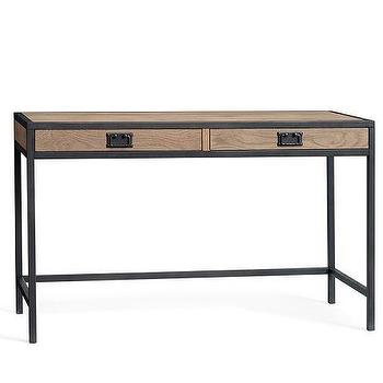 Tables - Lincoln Modular Writing Desk | Pottery Barn - industrial writing desk, iron and wood desk, distressed wood and iron desk,