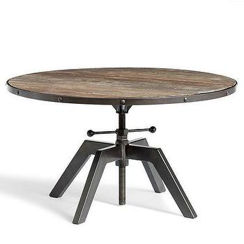 Tables - Blain Coffee Table | Pottery Barn - round industrial coffee table, round crank coffee table, industrial crank coffee table,