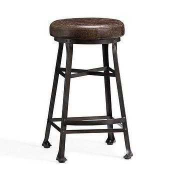 Seating - Decker Leather Seat Barstool | Pottery Barn - draftsmans barstool, industrial backless barstool, leather and iron barstool,