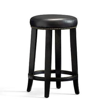 Seating - Kass Backless Barstool | Pottery Barn - black leather barstool, backless black leather barstool, black leather nailhead barstool,