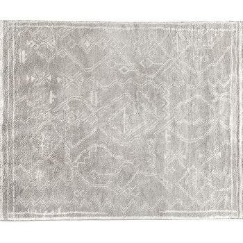 Rugs - Isis Shaggy Hand Knotted Rug - Grey | Pottery Barn - gray moroccan motif rug, gray berber style rug, gray tribal print rug,