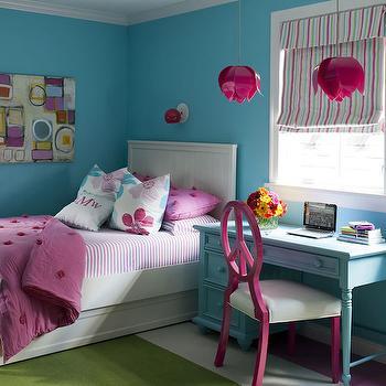 Tobi Fairley - girl's rooms - pink and blue kids orom, pinka nd blue girls room, beadboard bed, pb teen bed, white beadboard bed, twin beadboard bed, beadboard twin bed, kids beadboard bed, bed with trundle, beadboard bed with trundle, kids trundle bed, ticking stripe sheet set, pink ticking stripe sheets, pink duvet, pink shams, kids bedding, girls bedding, blue desk, kids desk, blue kids desk, desk with turned legs, desk chair, peace chair, fuchsia desk chair, fuchsia peace chair, desk under window, fuchsia light pendant, fuchsia pendant lights, lotus pendant lights, lotus light pendants, fuchsia lotus pendants, striped roman shades, kids roman shades, white and green rug,