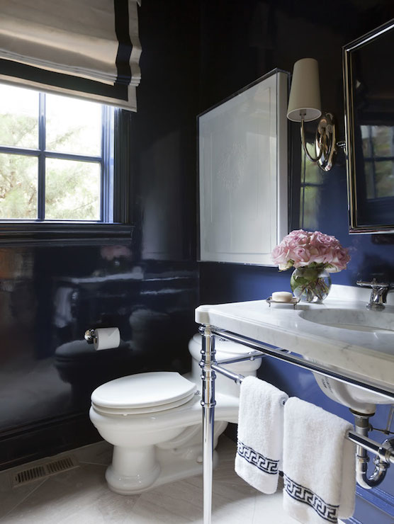 Navy Lacquered Walls Contemporary Bathroom Tobi Fairley
