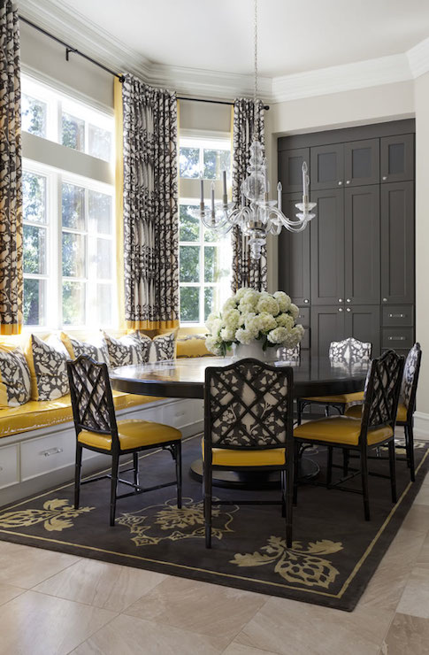 Yellow and gray dining rooms transitional dining room for Grey and yellow dining room ideas