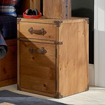 Storage Furniture - Travelers Bedside Table | PBteen - pine trunk style nightstand, wooden steamer trunk nightstand, wooden nightstand with leather handles,