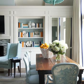 Tobi Fairley - dining rooms - turquoise chandeliers, dining room chandeliers, turquoise beaded chandelier, farmhouse dining table, turned leg dining table, dining table with turned legs, blue dining chairs, french dining chairs, toile dining chairs, blue toile dining chairs,