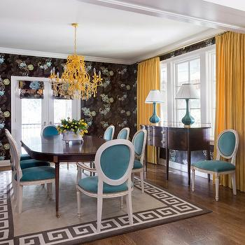 Yellow Curtains, Eclectic, dining room, Tobi Fairley