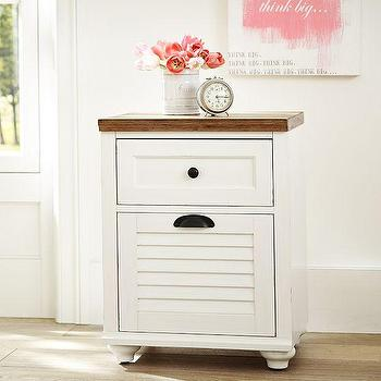 Storage Furniture - Whitney Bedside Table | PBteen - white louvered nightstand, white louvered beside table, white cottage beside table,