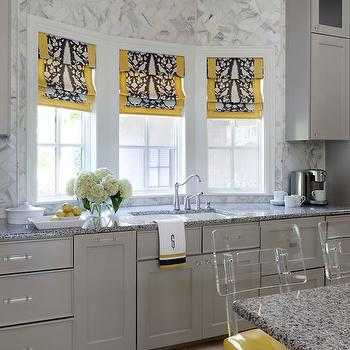 yellow seat cushions yellow and gray kitchens gray cabinets gray