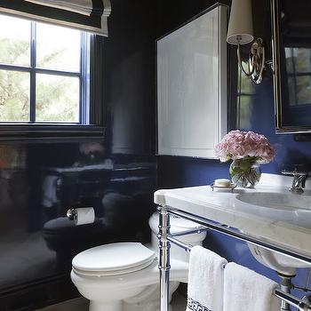 Tobi Fairley - bathrooms - powder rooms, powder room ideas, navy powder room, white and navy powder room, navy lacquer walls, navy lacquered walls, navy powder room walls, navy bathrooms, white and navy roman shade, navy window moldings, navy moldings, glossy navy moldings, navy blue moldings, navy blue walls, navy blue lacquer walls, navy blue lacquered walls, art over toilet, over the toilet art, 2 leg washstand, marble top washstand, rectangular picot mirror, nickel sconces, powder room ideas, navy powder room ideas, navy blue powder rooms,