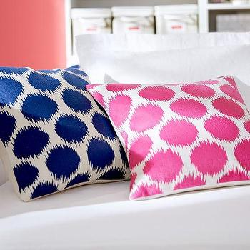 Pillows - Ikat Dot Embroidered Pillow Covers | PBteen - hot pink ikat dot pillow, pink ikat dot pillow, navy ikat dot pillow, navy blue ikat dot pillow,