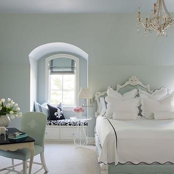 Tobi Fairley - bedrooms - mint green bedroom, mint green walls, beaded chandelier, bedroom chandelier, built in window seat, window seat, bedroom window seat, window seat bedroom, arched alcove, bedroom alcove, alcove window seat, window seat alcove, arched alcove, arched bedroom alcove, arched window seat alcove, arched reading nook, greek key roman shade, black greek key trim, blue roman shade, damask cushion, black and white damask cushion, fleur de lis pillows, black fleur de lis pillow, greek key pillow, lucite table, lucite accent table, round lucite table, baroque bed, mint green bed, mint green baroque bed, green baroque bed, black and white bedding, bedroom desk, cabriolet leg desk, desk with cabriolet legs, mint green chair, mint green desk chair, arched alcove window seat, window seat arched alcove,