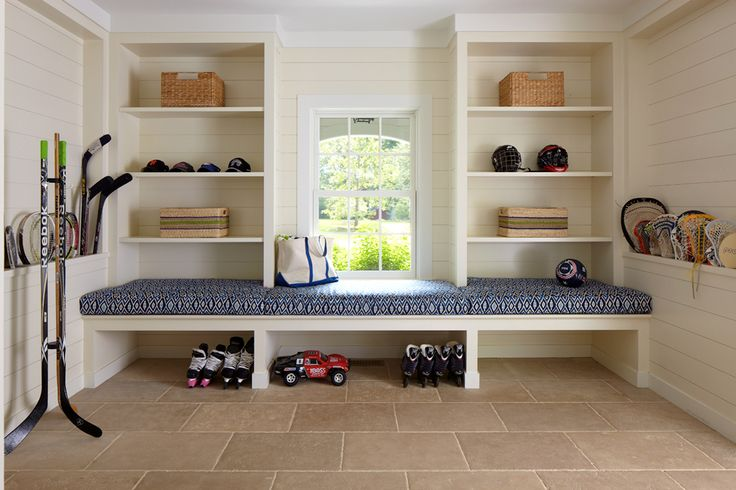 Built In Mudroom Bench Cottage Laundry Room Brooks Falotico