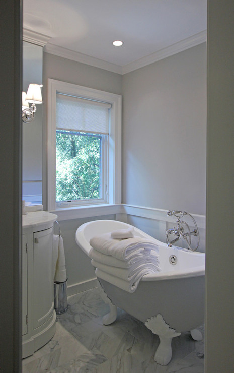 Gray Claw Foot Tub Transitional Bathroom Farrow And