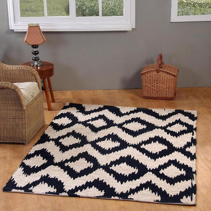 Jute Cotton Navy Ikat Printed Area Rug 5 X 7