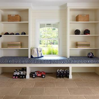 Brooks & Falotico - laundry/mud rooms - built in bench, mudroom bench, mudroom shelves, built in shelves, mudroom shelving, tribal cushion, blue tribal cushion, navy tribal cushion, built in mudroom bench, mudroom shoe storage,