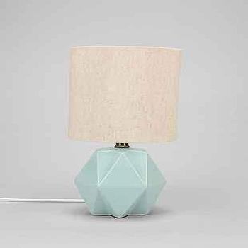 Lighting - Faceted Pastel Table Lamp I Urban Outfitters - faceted mint green lamp, faceted green lamp, modern mint green lamp,