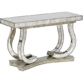 Tables - Show Stopper Mirrored Console I High Fashion Home - antiqued mirrored console, mirrored console table, mirror tiled console table,