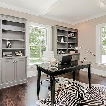Gray Built Ins, Contemporary, den/library/office, Jillian Klaff Homes