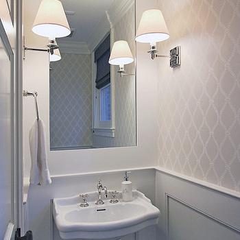 Anthony Wilder Design/Build - bathrooms: tiny powder rooms, powder rooms, small powder rooms, white and gray powder rooms, powder room wallpaper, wallpaper for powder rooms, trellis wallpaper, gray trellis wallpaper, powder room wainscoting, wainscoting for powder rooms, wainscoting powder rooms, greek key sconces, greek key wall sconces, pedestal sink, small pedestal sink, powder room sconces, inset mirror,
