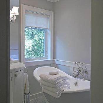 Gray Claw Foot Tub, Transitional, bathroom, Farrow and Ball Cornforth White, Anthony Wilder Design/Build