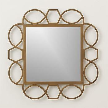 Mirrors - Fretwork Brass Wall Mirror | Crate and Barrel - modern brass mirror, brass fretwork mirror, geometric brass mirror,