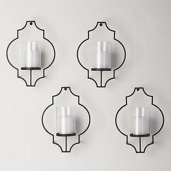 Art/Wall Decor - Rosaline Wall Candleholders Set of Four | Crate and Barrel - moroccan shaped candle sconce, geometric candle sconce, arabesque shaped candle sconce,