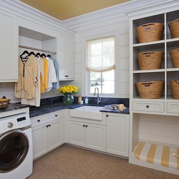 Built In Dog Bed, Cottage, laundry room, Harrison Design Associates