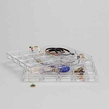 Decor/Accessories - Stacked Jewelry Organizer I Urban Outfitters - acrylic jewelry trays, clear plastic jewelry tray, clear plastic jewelry organizer,