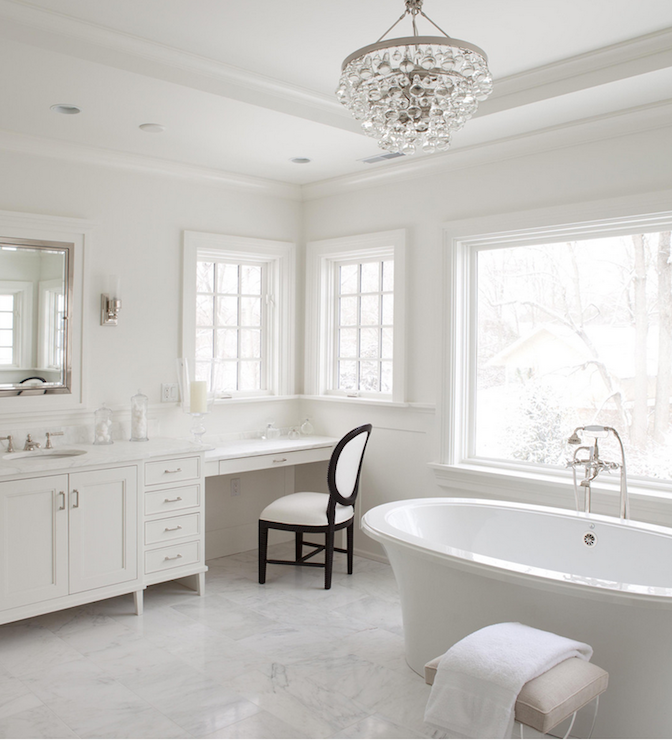 Chandelier Over Bathtub Transitional Bathroom Milton