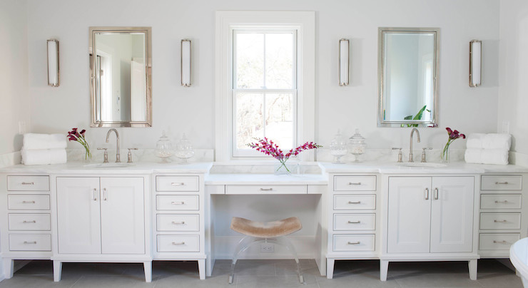 Lucite Vanity Stool Transitional Bathroom Milton