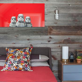 Milton Development - boy's rooms - boys bedroom ideas, barn board wall paneling, barn board wall ideas, barn board headboard wall, reclaimed wood paneling, gray wing style headboard, gray tweed kids headboard, red bedding, gray striped pillow, alphabet pillow, jumbled alphabet pillow, star wars wall art, star wars lego wall art, modern nautical wall sconce, wooden nightstand with blue front, modern nightstand with blue drawers, barn board wall, barn board accent wall. kids room barn board, kids headboard, gray wingback headboard, kids art, kids rooms, 2 tone nightstand, blue nightstand, maritime sconces,