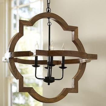 Lighting - Paloma Wood Chandelier | Pottery Barn - quatrefoil wood chandelier, wooden moroccan chandelier, quatrefoil shaped chandelier,