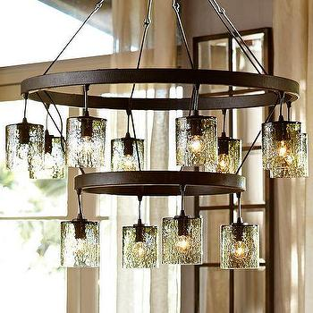 Lighting - Rhone Glass Tiered Chandelier | Pottery Barn - tiered glass shade chandelier, tiered iron and glass chandelier, bronze chandelier with glass shades,