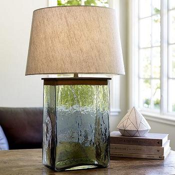 Lighting - Webster Glass Table Lamp Base | Pottery Barn - recycled glass lamp, salvaged bottle lamp, corked bottle lamp,