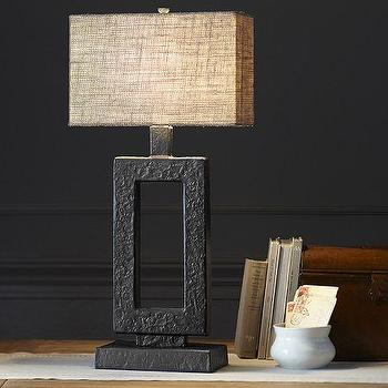 Lighting - Rochester Table Lamp Base | Pottery Barn - geometric iron table lamp, rectangular iron table lamp, architectural iron table lamp,